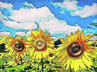Painting - Maryland Sunflowers - 04  by Andrea Mazzocchetti
