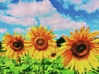 Painting - Maryland Sunflowers - 07 by Andrea Mazzocchetti