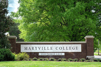 Photograph - Maryville College Sign by Mary Lee Dereske