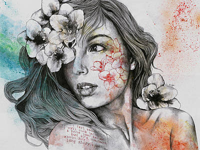Mascara - Expressive Female Portrait With Freesias Original