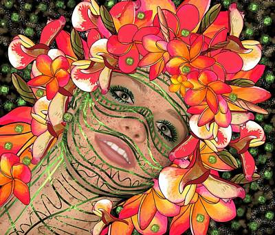 Mask Freckles And Flowers Art Print