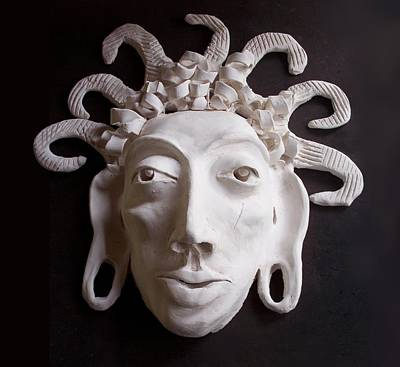 Ceramic Art - Mask The Aztec by Joan Stratton