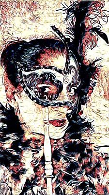 Portrait Study Mixed Media - Masked Beauty by Amit Zohar