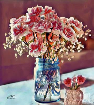 Painting - Mason Jar Carnations by CAC Graphics