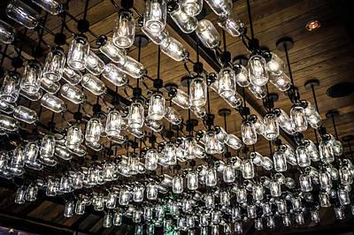 Photograph - Mason Jar Lights Chandelier Decor At A Restaurant by Alex Grichenko