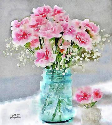 Painting - Mason Jar Pink Carnations by CAC Graphics
