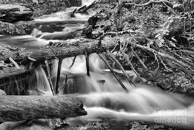 Photograph - Massachusetts Sanderson Brook Falls Black And White by Adam Jewell