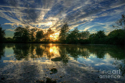 Digital Art - Matching Green Pond by Nigel Bangert