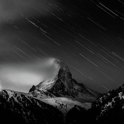 Photograph - Matterhorn With Startrail by Coolbiere Photograph