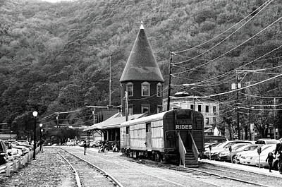 Photograph - Mauchunk Train Station In Black And White by Bill Cannon