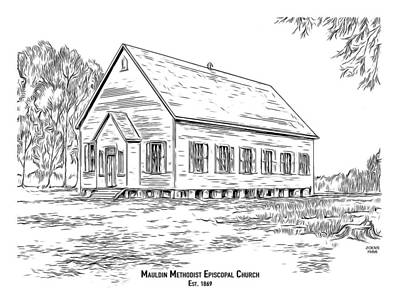 Drawings Rights Managed Images - Mauldin Methodist Episcopal Royalty-Free Image by Greg Joens