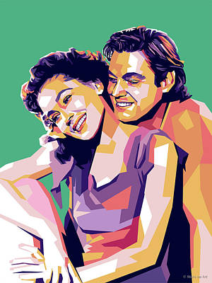 Colorful Fish Xrays - Maureen OSullivan and Johnny Weissmuller by Stars on Art