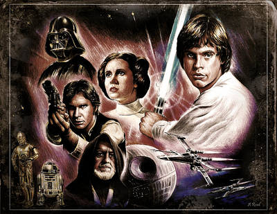 Science Fiction Drawings - May the force be with you 3rd ver  by Andrew Read