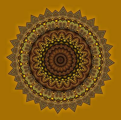 Digital Art - Mayan Courtyard 33 Gold by Doug Morgan