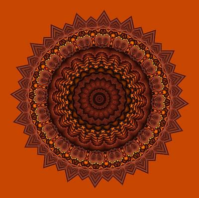 Digital Art - Mayan Courtyard 33 Orange by Doug Morgan