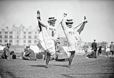 Olympic Sports - Maybell Meek and Gladys Moore of _Midnight Sons_, posing together on ball field during newsboys bene by Celestial Images