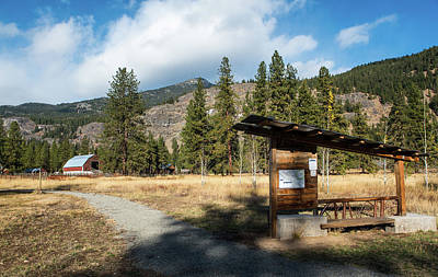 Photograph - Mazama Barn Trail And Bench by Tom Cochran