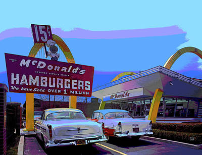 City Sunset Mixed Media - Mcdonald's Store #1 Chicago by Charles Shoup