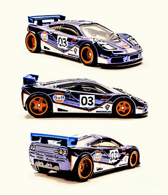 Watercolor City Skylines - McLaren F1 GTR by Jorgo Photography - Wall Art Gallery