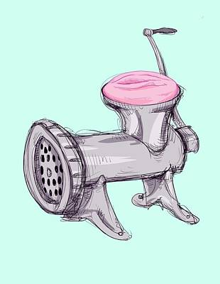 Drawing - Meat Grinder by Ludwig Van Bacon