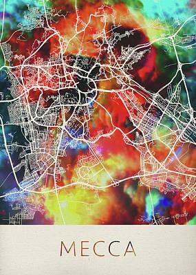 Islam Wall Art - Mixed Media - Mecca Saudi Arabia Watercolor City Street Map by Design Turnpike