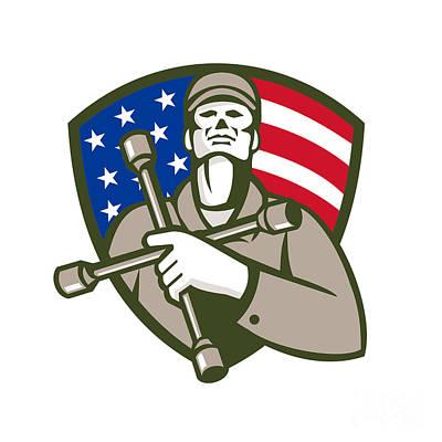 Soap Suds - Mechanic Holding Tire Wrench USA Flag Shield Retro by Aloysius Patrimonio