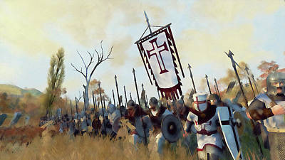Painting - Medieval Army In Battle - 36 by Andrea Mazzocchetti