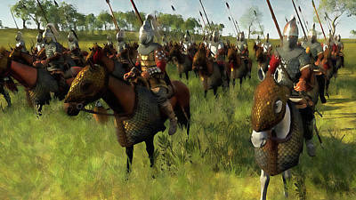 Painting - Medieval Army In Battle - 37 by Andrea Mazzocchetti
