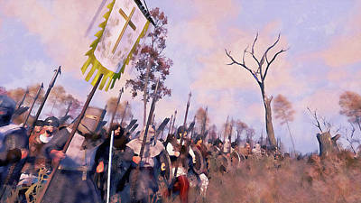 Painting - Medieval Army In Battle - 38 by Andrea Mazzocchetti
