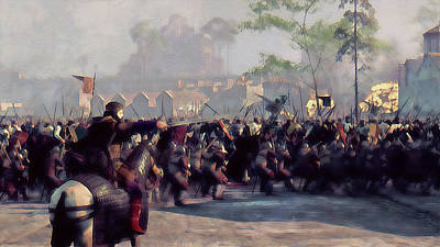 Painting - Medieval Army In Battle - 39  by Andrea Mazzocchetti