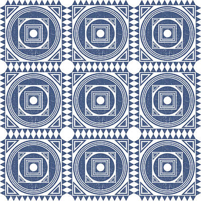 Royalty-Free and Rights-Managed Images - Mediterranean Pattern 1 - Tile Pattern Designs - Geometric - Blue - Ceramic Tile - Surface Pattern by Studio Grafiikka