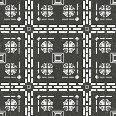 Royalty-Free and Rights-Managed Images - Mediterranean Pattern 10 - Tile Pattern Designs - Geometric - Grey - Ceramic Tile - Surface Pattern by Studio Grafiikka
