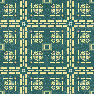 Royalty-Free and Rights-Managed Images - Mediterranean Pattern 11 - Tile Pattern Designs - Geometric - Navy - Ceramic Tile - Surface Pattern by Studio Grafiikka