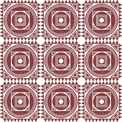 Royalty-Free and Rights-Managed Images - Mediterranean Pattern 3 - Tile Pattern Designs - Geometric - Maroon - Ceramic Tile - Surface Pattern by Studio Grafiikka
