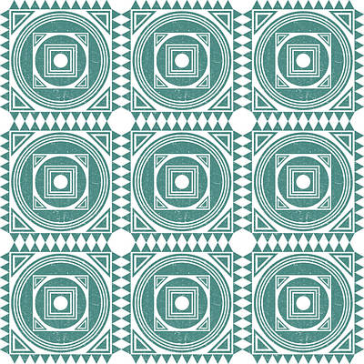Royalty-Free and Rights-Managed Images - Mediterranean Pattern 4 - Tile Pattern Designs - Geometric - Teal - Ceramic Tile - Surface Pattern by Studio Grafiikka