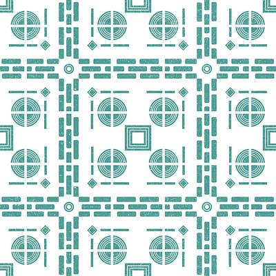 Mixed Media Royalty Free Images - Mediterranean Pattern 5 - Tile Pattern Designs - Geometric - Blue - Ceramic Tile - Surface Pattern Royalty-Free Image by Studio Grafiikka