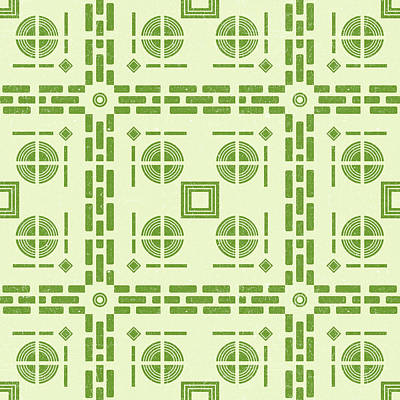 Royalty-Free and Rights-Managed Images - Mediterranean Pattern 6 - Tile Pattern Designs - Geometric - Green - Ceramic Tile - Surface Pattern by Studio Grafiikka