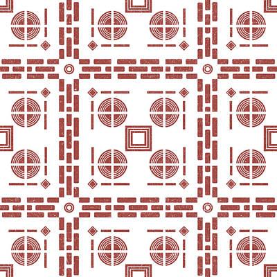 Mixed Media Royalty Free Images - Mediterranean Pattern 7 - Tile Pattern Designs - Geometric - Maroon - Ceramic Tile - Surface Pattern Royalty-Free Image by Studio Grafiikka