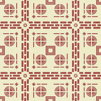 Royalty-Free and Rights-Managed Images - Mediterranean Pattern 8 - Tile Pattern Designs - Geometric - Red - Ceramic Tile - Surface Pattern by Studio Grafiikka