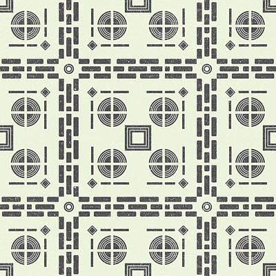 Mixed Media Royalty Free Images - Mediterranean Pattern 9 - Tile Pattern Designs - Geometric - Grey - Ceramic Tile - Surface Pattern Royalty-Free Image by Studio Grafiikka