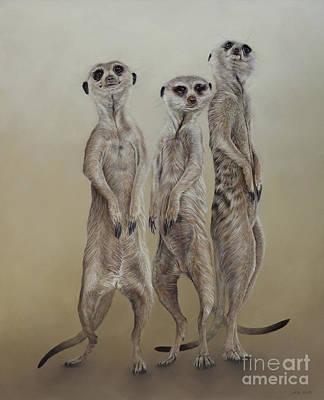 Meerkat Wall Art - Painting - Meerkat Mob, Sun Angels by Odile Kidd