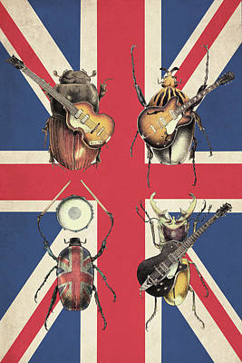 Drawing - Meet The Beetles - Union Jack by Eric Fan