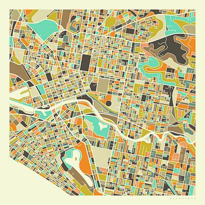 Australia Wall Art - Digital Art - Melbourne Map 1 by Jazzberry Blue