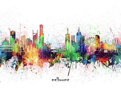 Abstract Skyline Royalty-Free and Rights-Managed Images - Melbourne Skyline Artistic by Bekim M