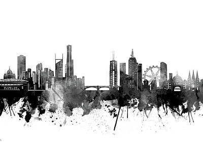Abstract Skyline Royalty-Free and Rights-Managed Images - Melbourne Skyline Bw by Bekim M