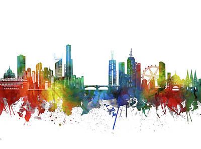 Abstract Skyline Royalty-Free and Rights-Managed Images - Melbourne Skyline Watercolor 2 by Bekim M