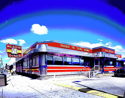 City Sunset Mixed Media - Melrose Diner Philadelphia by Charles Shoup
