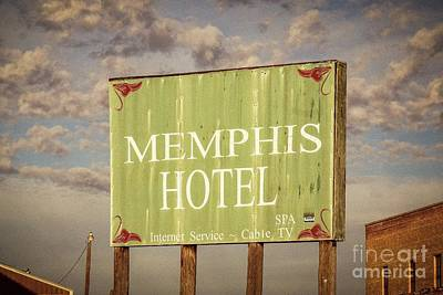 Photograph - Memphis Hotel Sign by Imagery by Charly