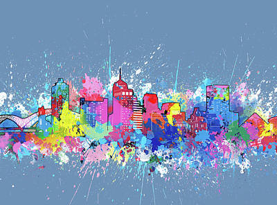 Digital Art Royalty Free Images - Memphis Skyline Artistic 2 Royalty-Free Image by Bekim Art
