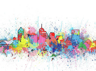 Music Royalty-Free and Rights-Managed Images - Memphis Skyline Artistic by Bekim M